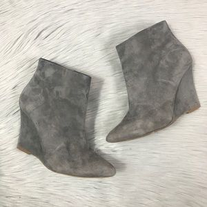 ♥️JOIE Jalena Grey Suede Wedge Ankle Booties